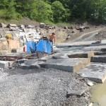Sawing a block in the quarry