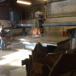 Custom sawing a piece of bluestone