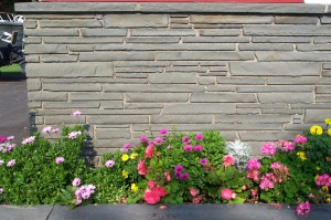 Exterior masonry wall faced with bluestone veneer