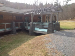 Heldeberg Bluestone veneer on walkway pillars